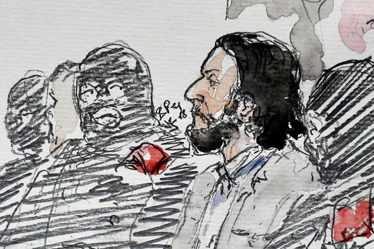 Een tekening van Salah Abdeslam in de rechtszaal in Brussel. Beeld AFP