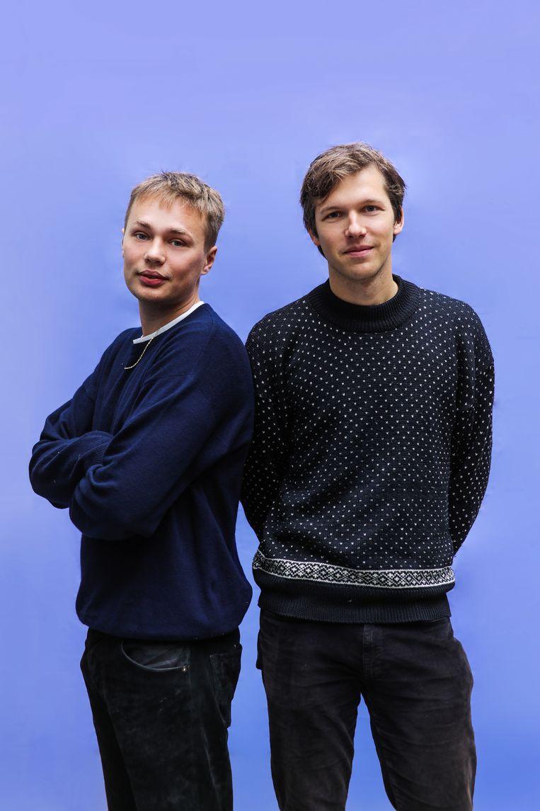 Portret van genomineerden (L) Tienson Smeets en (R) Jac van Exter (Jungle by Night) voor Amsterdamprijs voor de Kunst. Beeld Eva Plevier