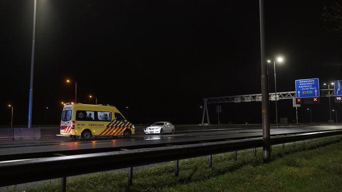 Ongeval op de A1 van Deventer richting Apeldoorn, ter hoogte van knooppunt Beekbergen.