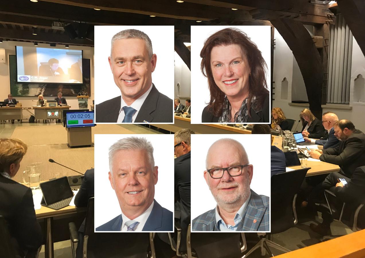 Fractievoorzitters Marc Merx (linksboven), Kitty Kruger (rechtsboven), Wim van der Kruijff (linksonder) en Cor van Verk (PvdA) reageren op de breuk bij Beter Voor Dordt.