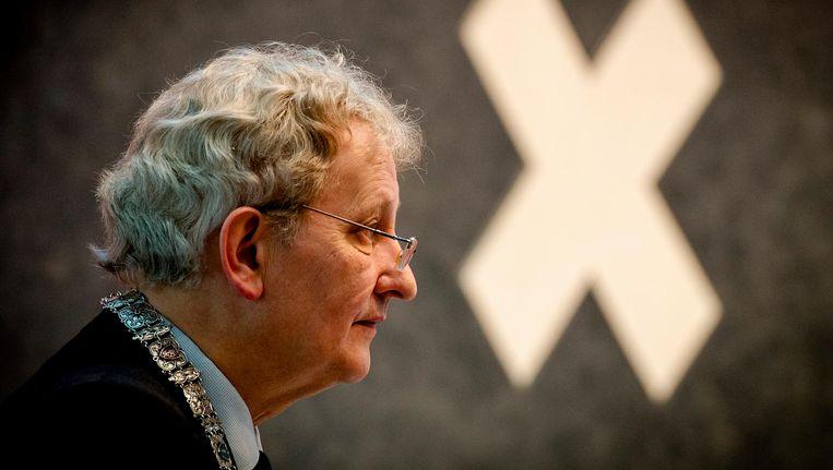 Van der Laan tijdens de installatie van nieuwe leden van de Amsterdamse gemeenteraad in 2014 Beeld anp