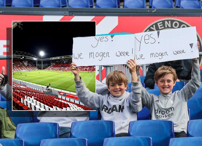 Supporters van Feyenoord. Inzet: de Galgenwaard van FC Utrecht.
