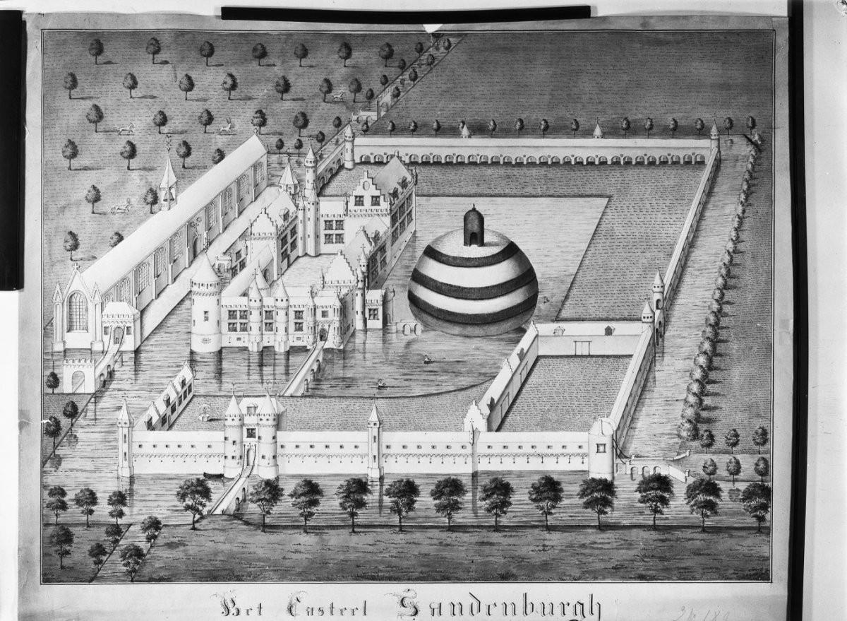 Reproductie van een tekening van kasteel Zandenburg.