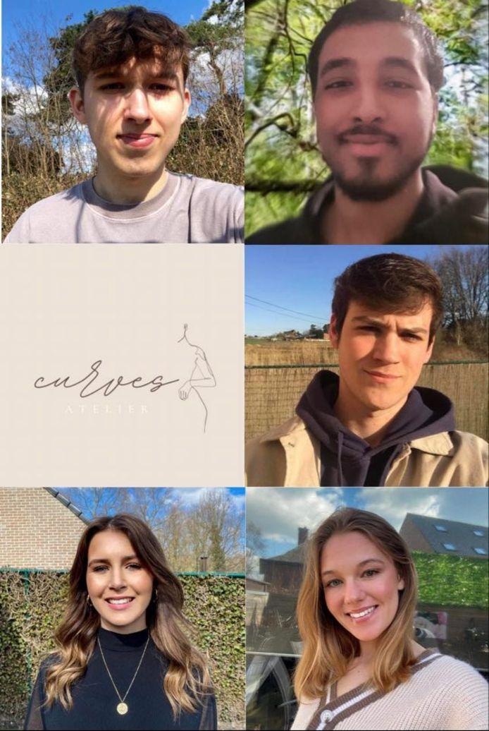 De vijf Limburgse studenten die samen 'Curves Atelier' hebben opgericht.
