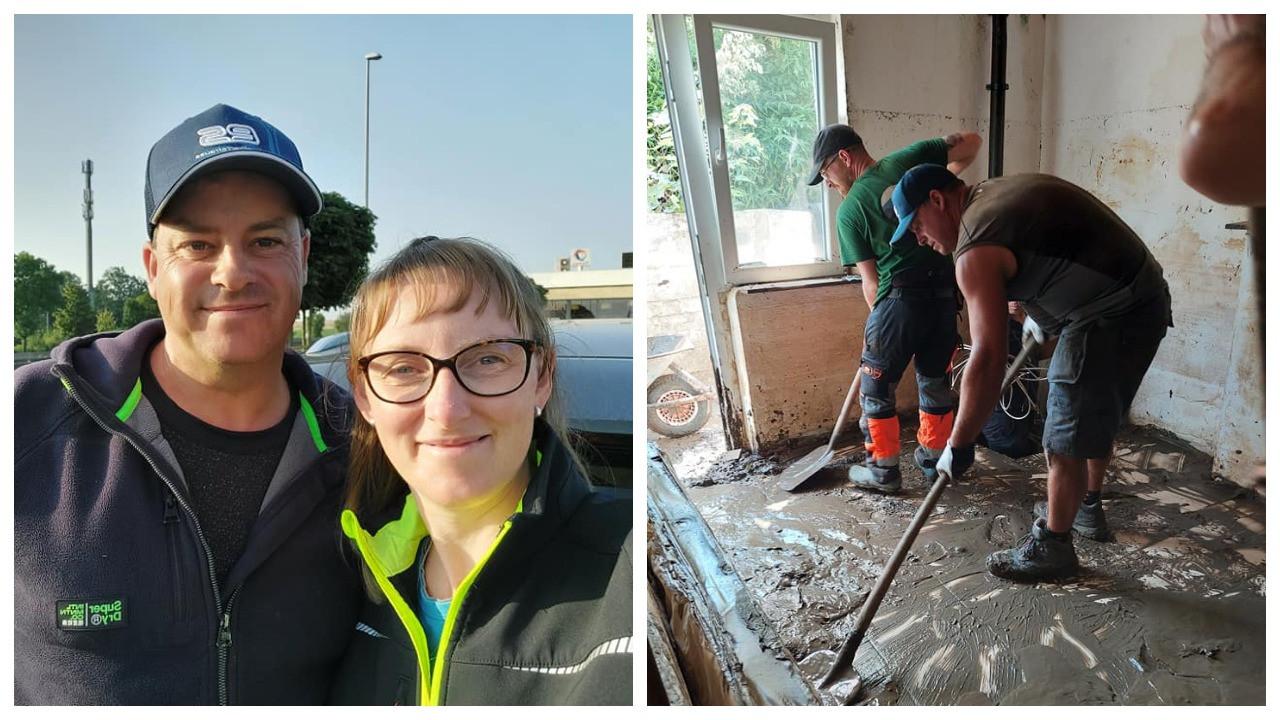 An Gaublomme en Wim Van Leuven trokken met een aantal andere vrijwilligers deze week naar Chaudfontaine en stelden vast dat de mensen daar nog heel wat hulp kunnen gebruiken.