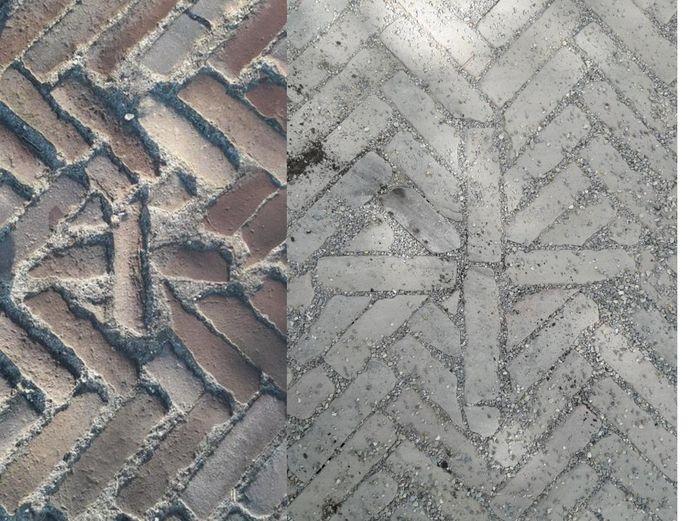 Links het oude kruisje van de Heikant, rechts de nieuwe, forsere variant.