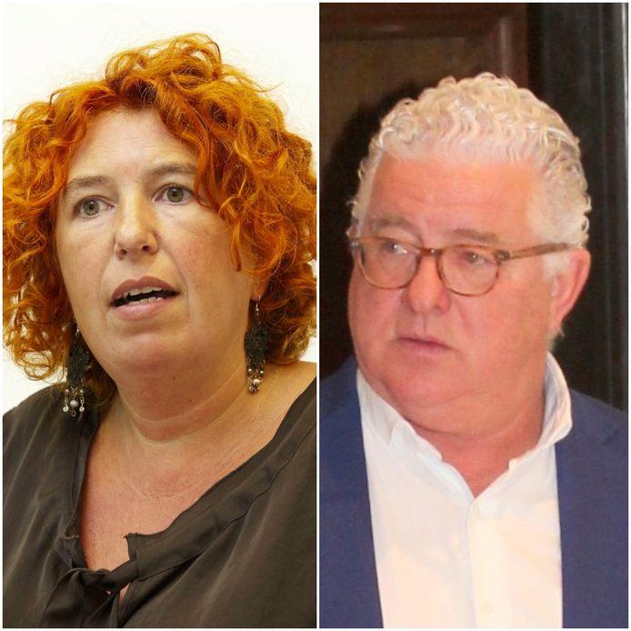 Onderzoeksrechter Annemie Serlippens en Jeroen Piqueur van de failliete Optima Bank.