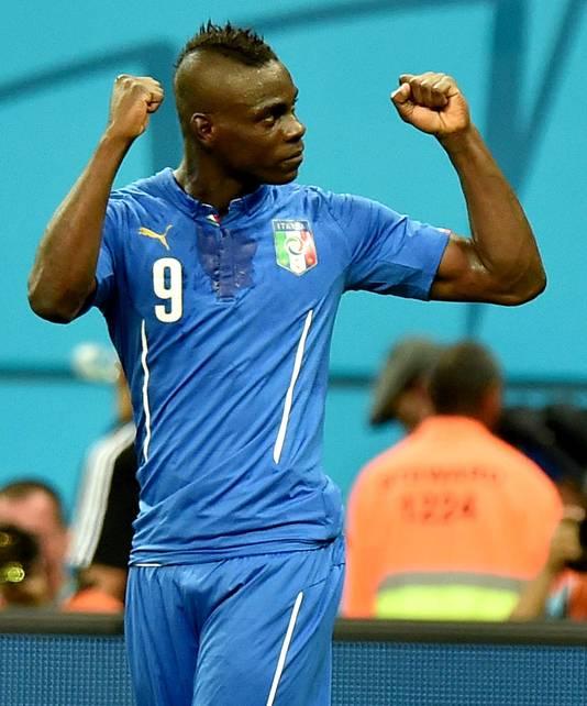Balotelli in het shirt van Italië tijdens het WK 2014.