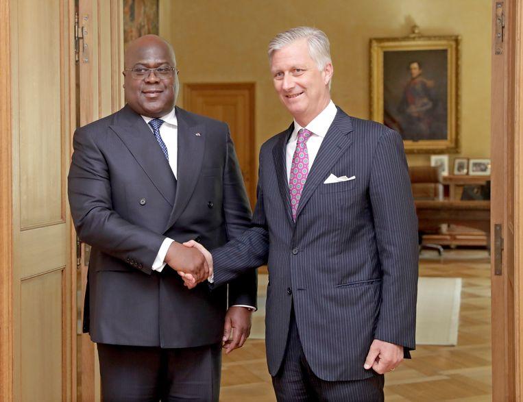 Koning Filip kreeg eerder deze maand de Congolese president Tshisekedi op bezoek. Beeld EPA