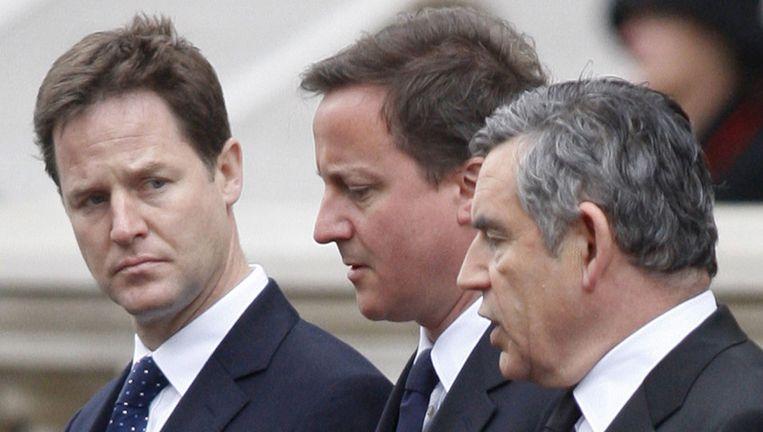 Nick Clegg, David Cameron en Gordon Brown. Beeld UNKNOWN