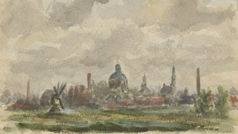 Gezicht op Leiden vanuit Oegstgeest. Aquarel Jan Wolkers 1943. Beeld Collectie Wolkers, Texel