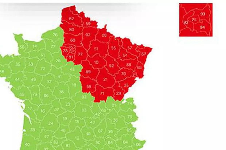 Kaart van de Franse departementen
