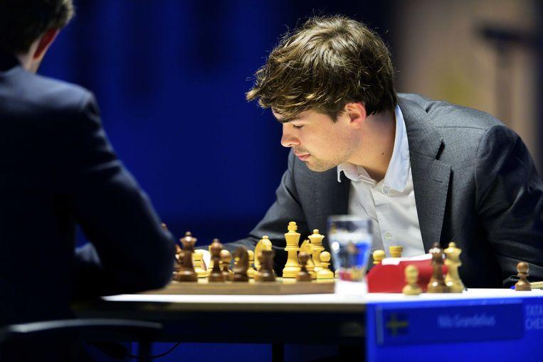 Jorden van Foreest tijdens de laatste ronde van het Tata Steel-schaaktoernooi in Wijk aan Zee. Beeld ANP
