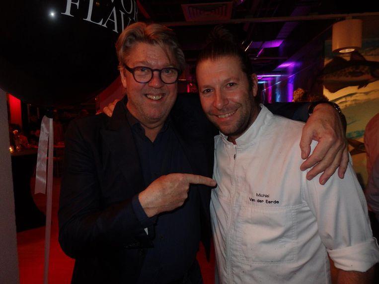 TV-kok Robert Kranenborg (l) met Michiel van der Eerde, chef van Baut en pop-upkoning van de Amsterdamse restaurants Beeld Schuim