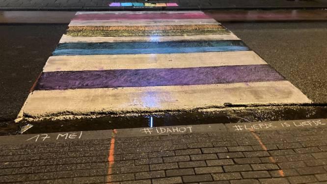 Groen Hamme kleurt met krijt regenboogvlag aan zebrapaden om aandacht te vestigen op homo- en transfobie
