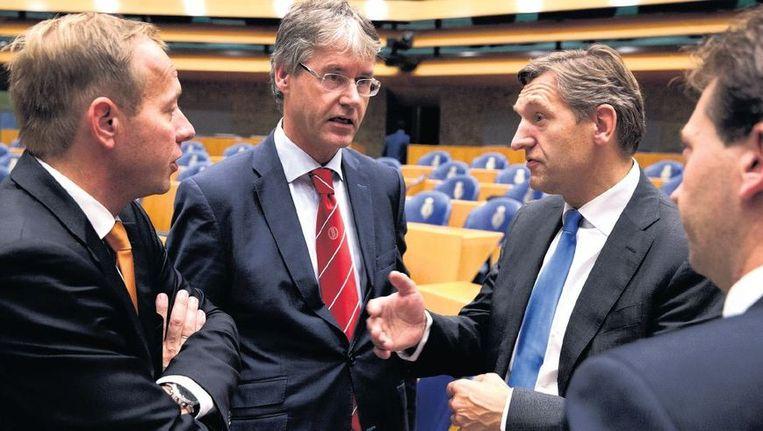 Fractievoorzitters Kees van der Staaij (SGP), Arie Slob (ChristenUnie) en Sybrand Buma (CDA) tijdens de tweede dag van de Algemene Politieke Beschouwingen. Beeld Novum