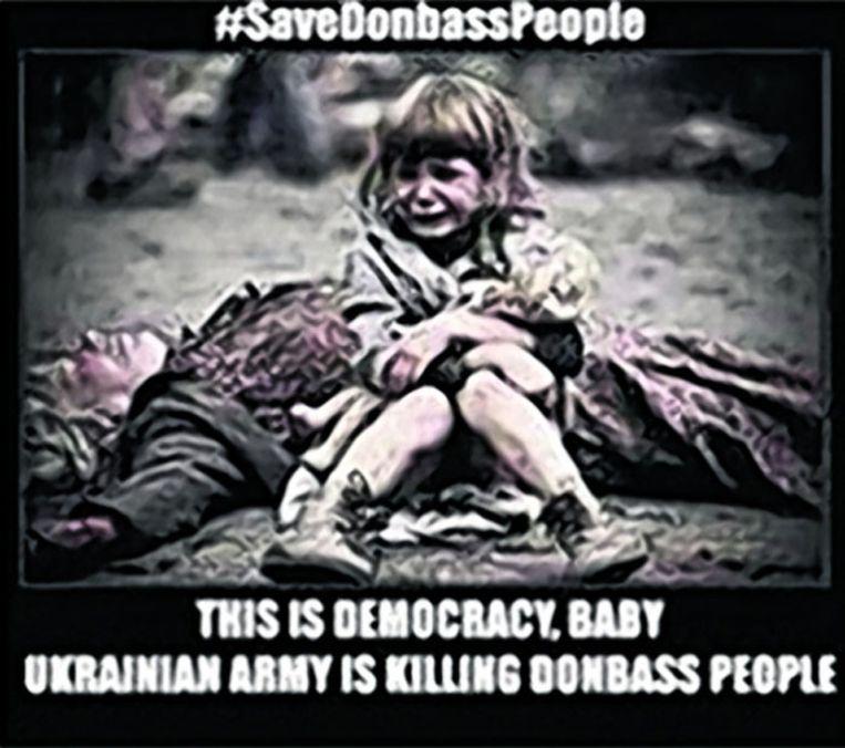 Het meisje dat huilt om haar dode moeder komt uit een Russische speelfilm over WO II Beeld Russische propaganda