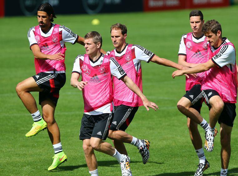 De Duitse ploeg tijdens een trainingssessie.