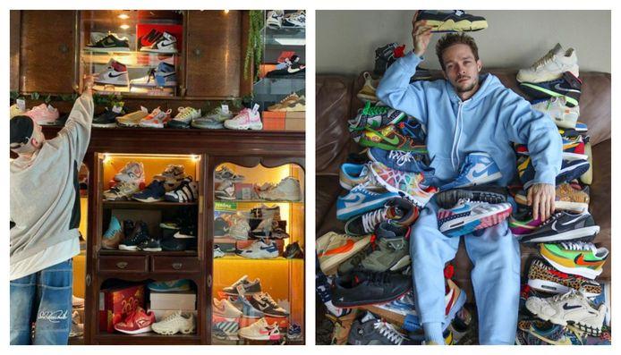 Links: Sneakerhead Dieter Bruijninckx (25) in zijn vintagewinkel Karat. Rechts: Owaish Sam Bazini (29) met een deel van zijn sneakercollectie van 400 à 500 stuks.