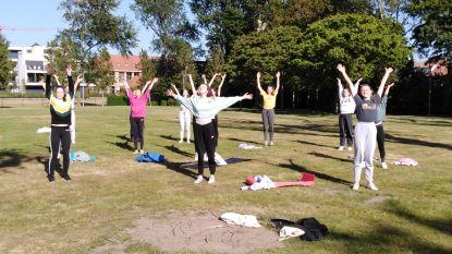 Ballerina's van Le Cygne oefenen in openlucht