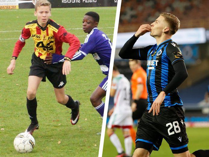 Ignace Van der Brempt, als speler van KV Mechelen in de jeugd (l), en gisteren na zijn goal tegen OHL (r).