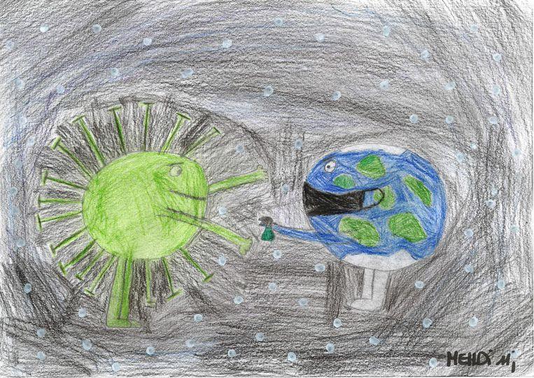 Kindertekeningen over corona Mehdi, 11 jaar. Beeld HUMO