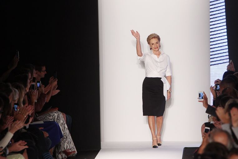 Carolina Herrera (78), hier op een defilé in 2013, kleedde onder meer first lady's Jackie Kennedy, Michelle Obama en Melania Trump. Beeld AFP