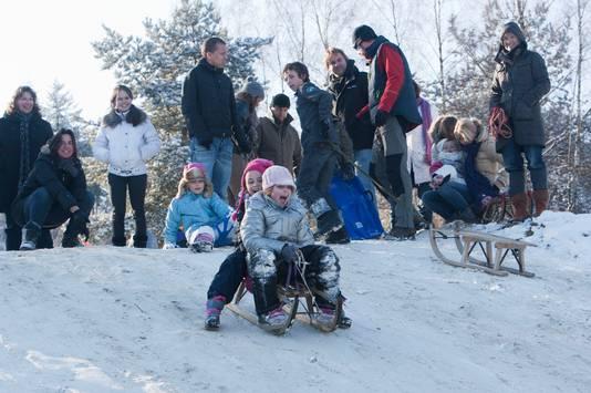 Als het sneeuwt is het druk met sleetjes vanwege het vele hoogteverschil.