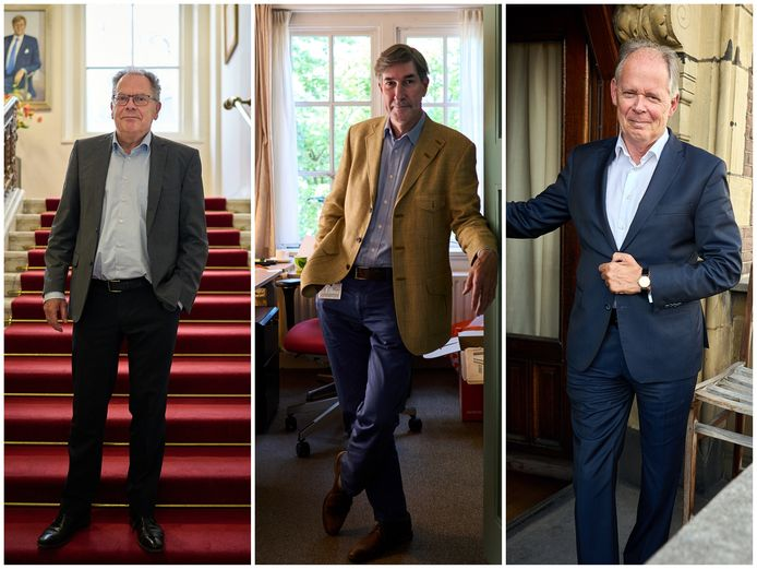 Vlnr: griffier Theo van Toor, SGP-persvoorlichter Menno de Bruyne en D66-Kamerlid Paul van Meenen.