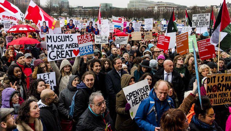 Demonstratie op het Malieveld in Den Haag tegen het door de president van de VS afgekondigde inreisverbod Beeld Marco de Swart/ANP