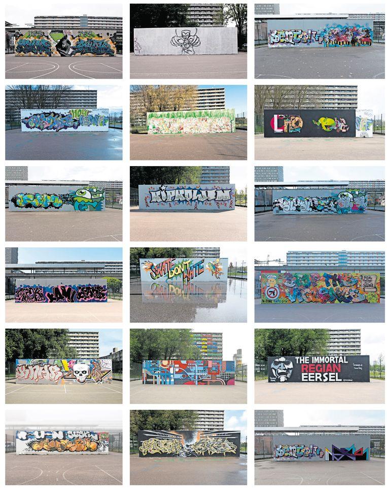 De afgelopen jaren legde fotograaf Hans Mooren het muurtje – een graffityhotspot – bij metrostation Kraaiennest vanaf twee kanten vast. Soms blijft zo'n kunstwerk lang staan, soms mist Mooren er een, wanneer er snel een andere piece overheen werd gezet.  Beeld Hans Mooren
