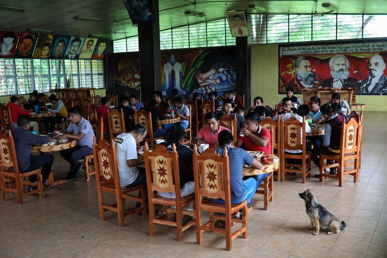 De eetzaal van de lerarenopleiding. Het aantal aanmeldingen is sterk teruggelopen. Beeld Felix Marquez