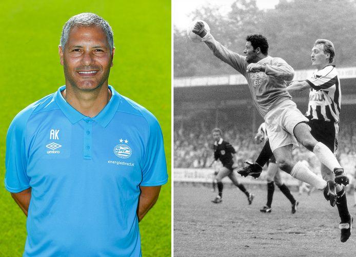 Abe Knoop. Rechts in 1990: FC Wageningen-doelman Abe Knoop bokst de bal weg voordat Folkert Velten van Heracles gevaarlijk kan worden.