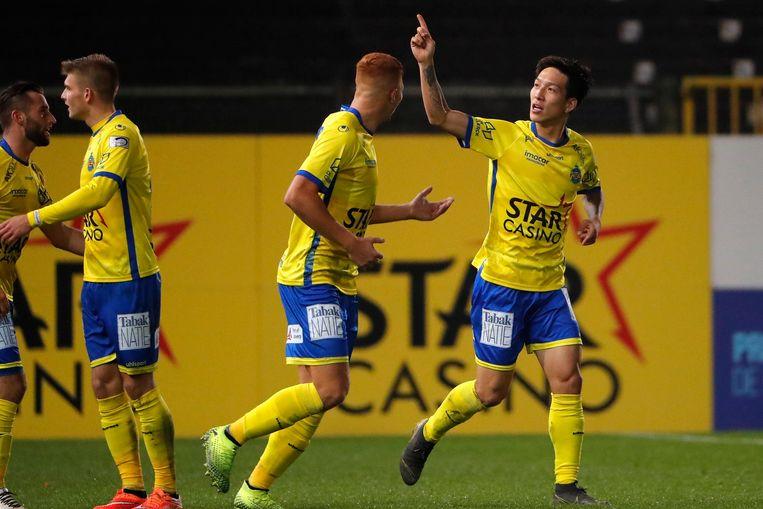Spelers van Waasland-Beveren. Beeld Photo News