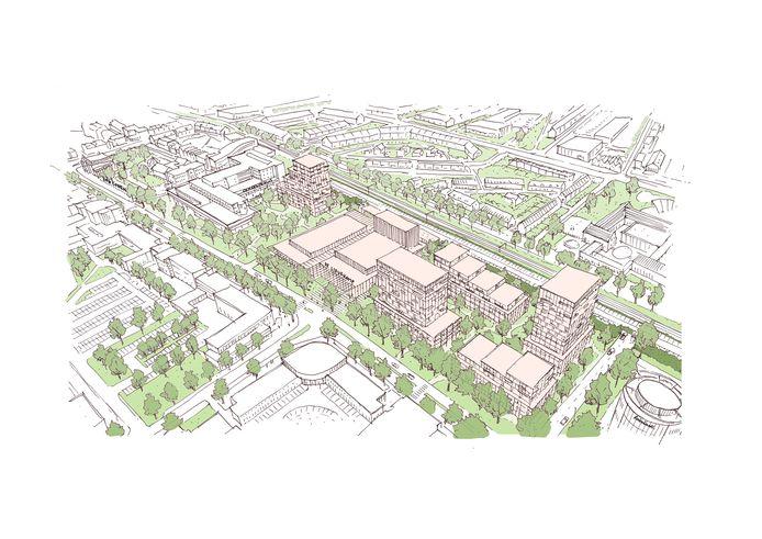 Schets van de plannen aan de Raadhuislaan in Oss.