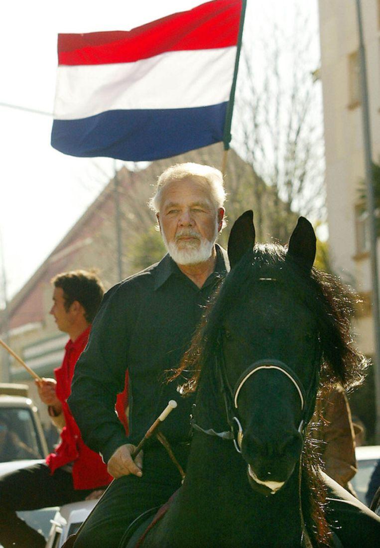 Archieffoto van de leider van de Afrikaner Resistance Movement (AWB) Eugene Terre'Blanche. Beeld