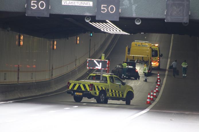 In de tunnel vond een eenzijdig ongeluk plaats
