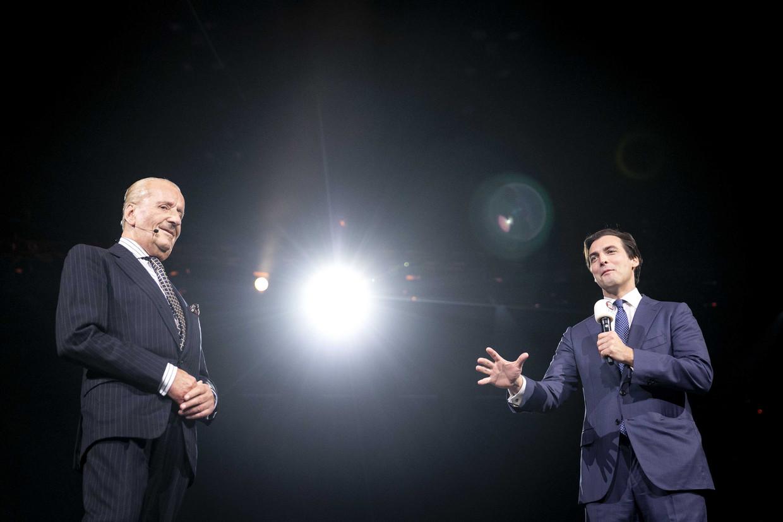 Theo Hiddema en Thierry Baudet in oktober bij de presentatie van de kandidatenlijst voor de Tweede Kamer.