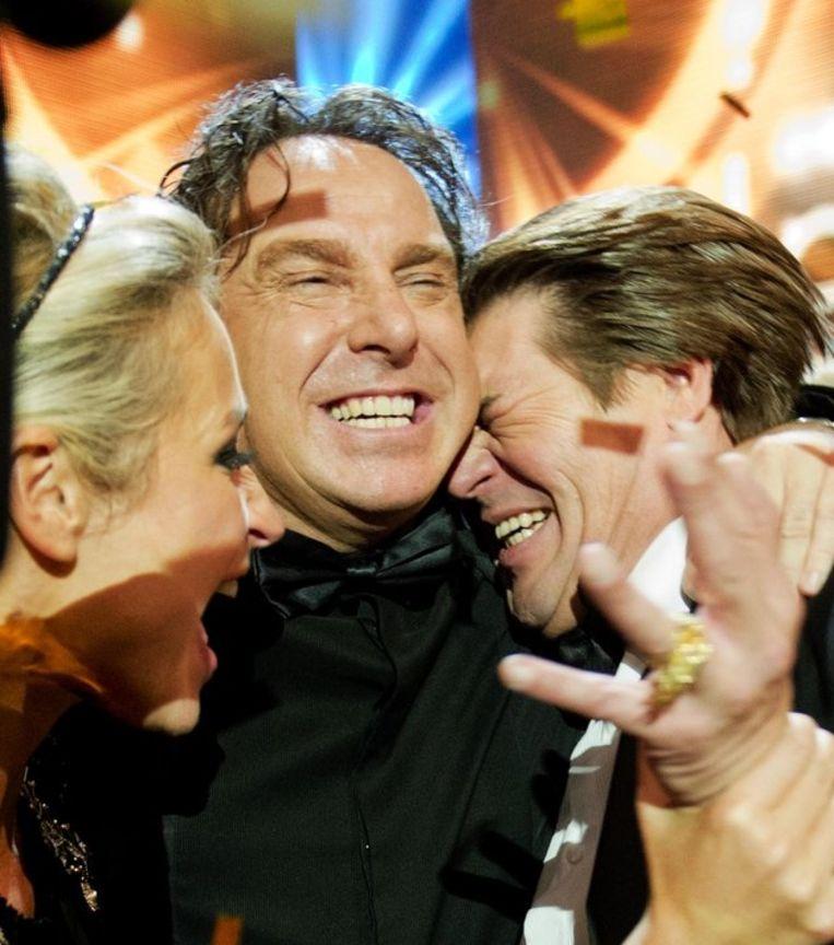 Wendy van Dijk, Marco Borsato en Martijn Krabbe na het winnen van de Televier-Ring. Beeld anp