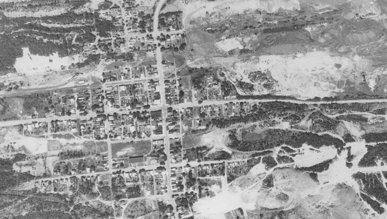 Een luchtbeeld van Centralia in 1971.
