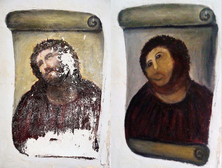Ecce Homo in Borja voor en na restauratie. Beeld AP