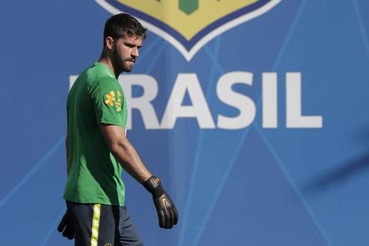 Allison op training van Brazilië.
