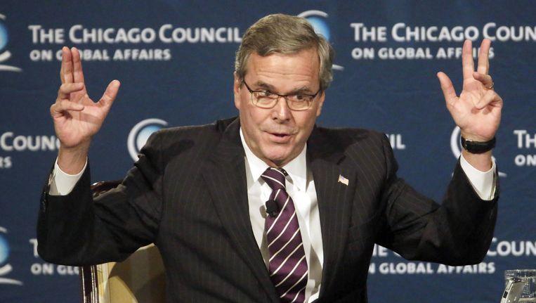 Voormalig gouverneur van Florida, Jeb Bush tijdens zijn toespraak in Chicago. Beeld ap