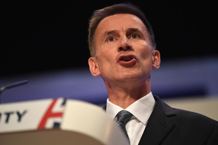 Jeremy Hunt tijdens het congres van de Britse Conservatieven in Birmingham op 30 September.  Beeld Getty Images