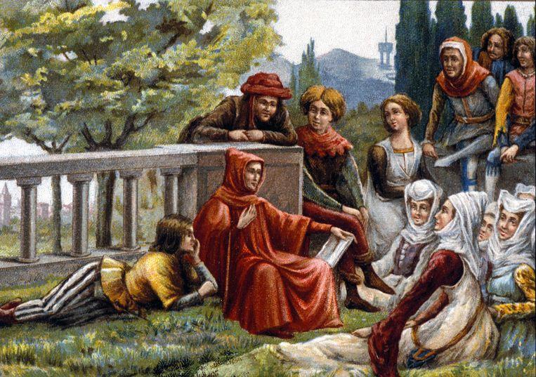 Op deze 19de-eeuwse afbeelding leest Boccaccio voor uit de 'Decamerone'. In dat boek uit 1353 vertellen jongeren elkaar verhalen terwijl de pest woedt in Florence. Beeld BELGAIMAGE