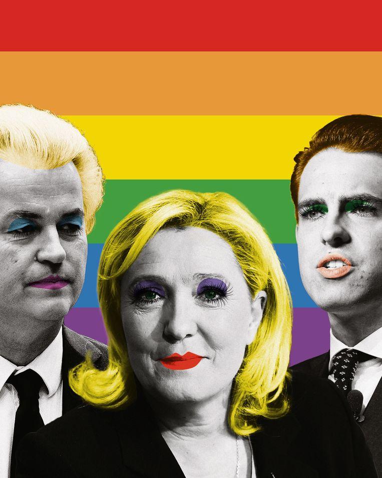 Geert Wilders, Marine Le Pen en Tom Van Grieken. Beeld RV