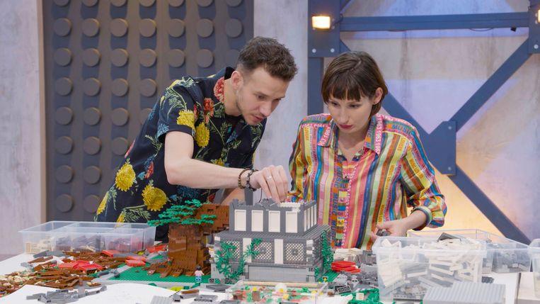 Ex-geliefden Jan en Lola in 'Lego Masters'. Beeld RTL / William Rutten