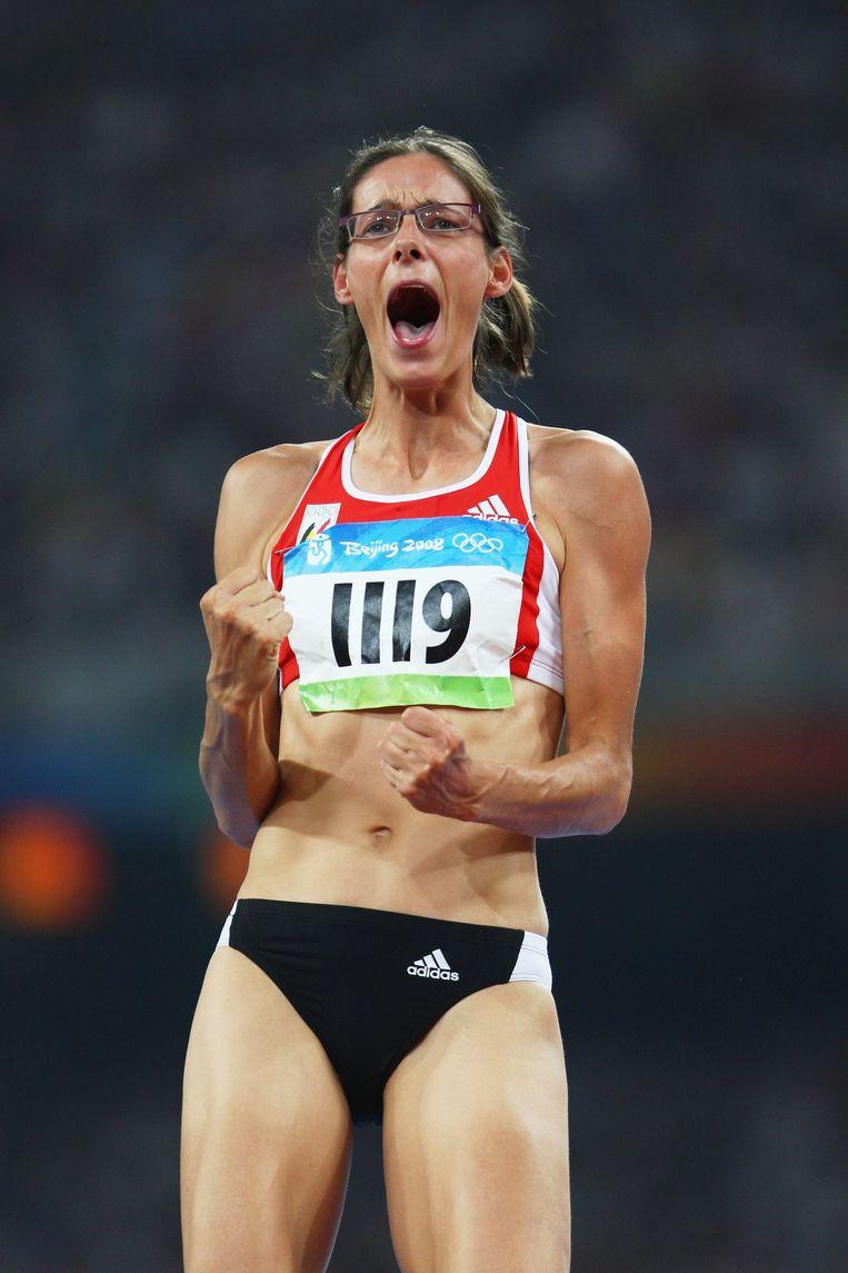 Tia Hellebaut haalde goud in het hoogspringen in Peking, 2008. Beeld Getty Images