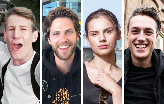 Vlnr: Willem Vink, Thomas van StukTV,  Famke Louise  en Noah Zeeuw.