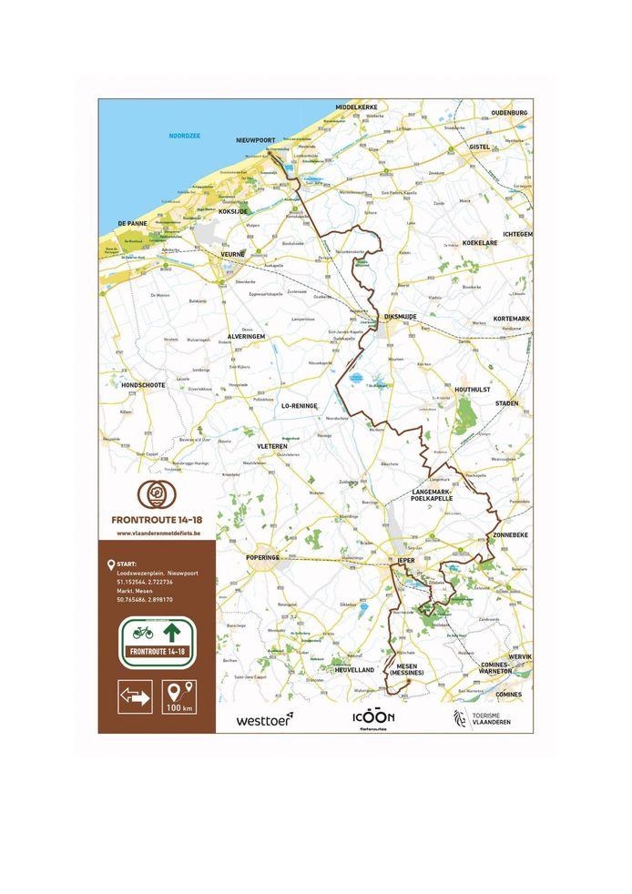 De volledige route loopt tussen Mesen en Nieuwpoort.